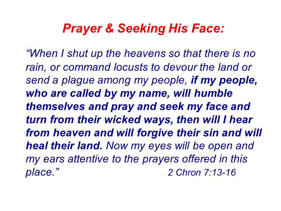 Prayer & Seeking His Face: When I shut up the heavens so that there is no rain, or command locusts to devour the land or send a plague among my people, if my people, who are called by my name, will humble themselves and pray and seek my face and turn from their wicked ways, then will I hear from heaven and will forgive their sin and will heal their land.