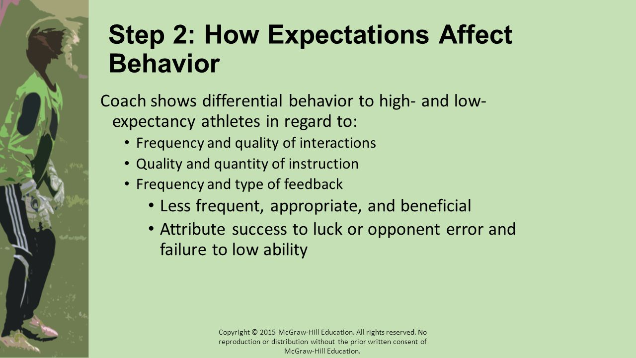Step 2: How Expectations Affect Behavior Coach shows differential behavior to high- and low- expectancy athletes in regard to: Frequency and quality o