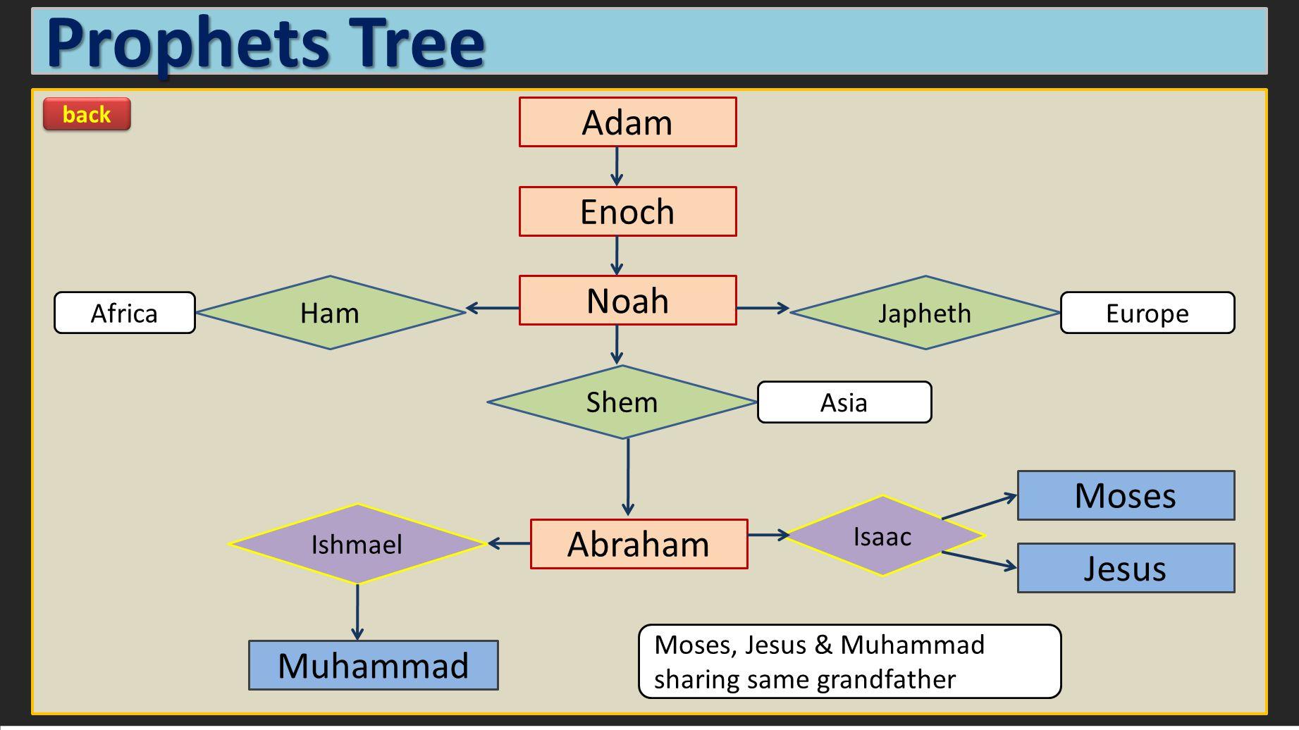 Prophets Tree Adam Muhammad Jesus Moses Abraham Noah Enoch Japheth Isaac Ishmael Shem Ham Africa Asia Europe Moses, Jesus & Muhammad sharing same grandfather back