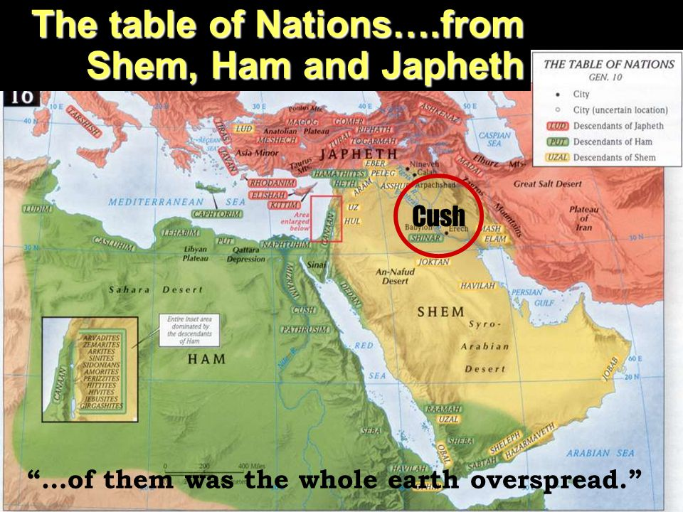 "The Prophecy of Zephaniah The table of Nations….from Shem, Ham and Japheth ""…of them was the whole earth overspread."" Cush"