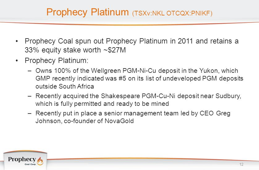 Prophecy Platinum (TSXv:NKL OTCQX:PNIKF) 12 Prophecy Coal spun out Prophecy Platinum in 2011 and retains a 33% equity stake worth ~$27M Prophecy Plati