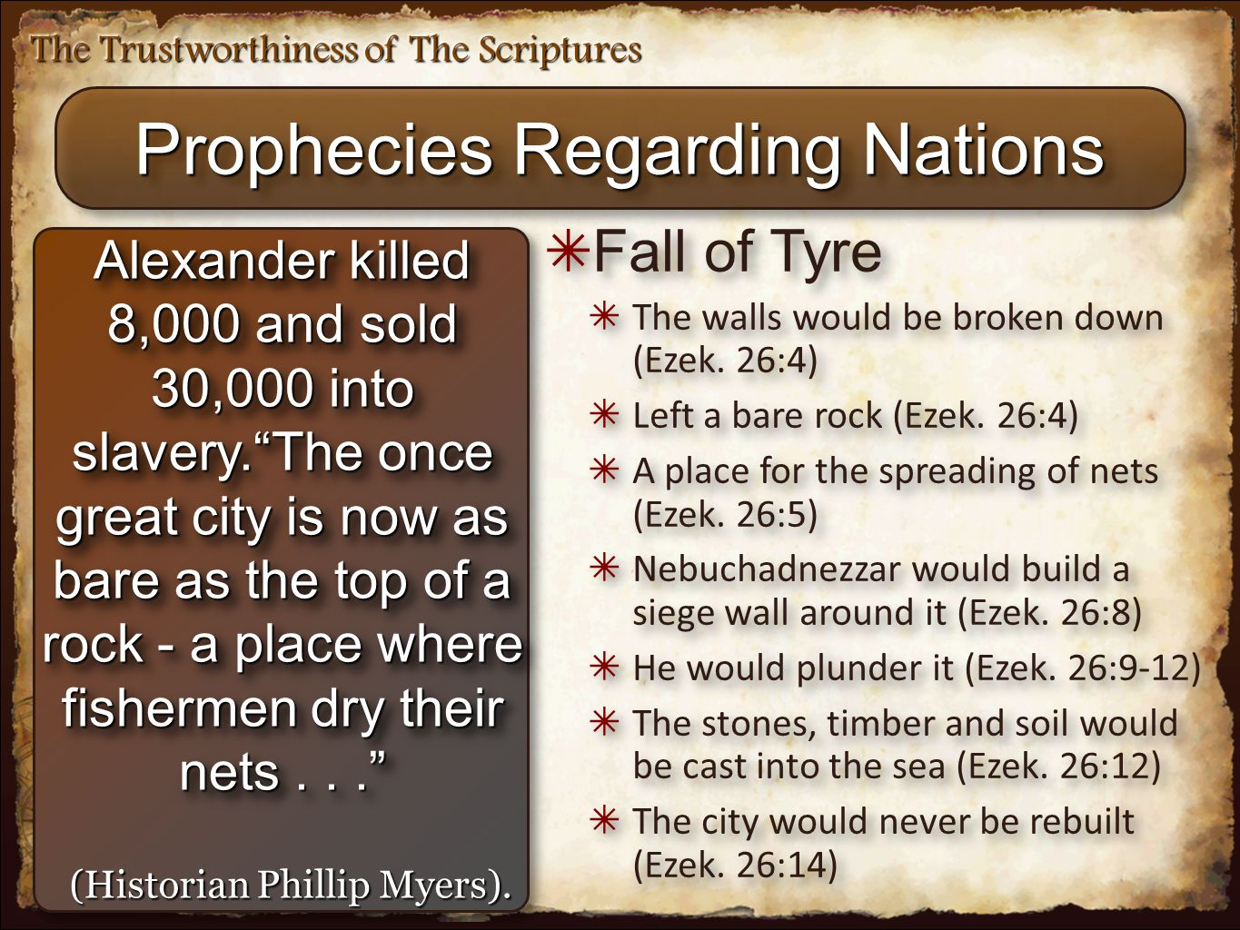 "The Trustworthiness of The Scriptures Prophecies Regarding Nations Alexander killed 8,000 and sold 30,000 into slavery.""The once great city is now as"