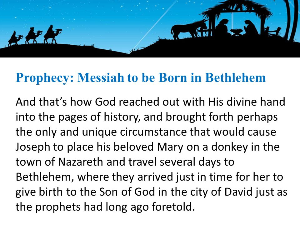 And that's how God reached out with His divine hand into the pages of history, and brought forth perhaps the only and unique circumstance that would cause Joseph to place his beloved Mary on a donkey in the town of Nazareth and travel several days to Bethlehem, where they arrived just in time for her to give birth to the Son of God in the city of David just as the prophets had long ago foretold.