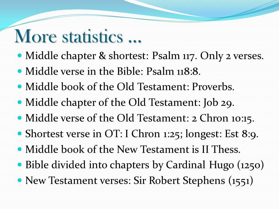 More statistics … Middle chapter & shortest: Psalm 117.
