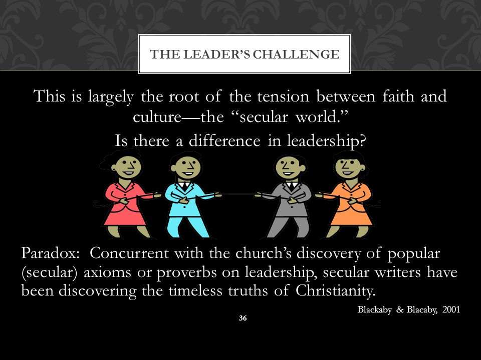 """THE LEADER'S CHALLENGE 36 This is largely the root of the tension between faith and culture—the """"secular world."""" Is there a difference in leadership?"""