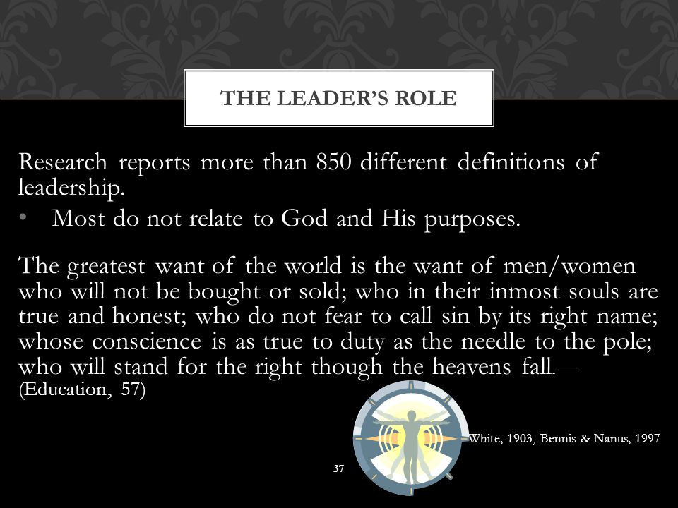 Research reports more than 850 different definitions of leadership. Most do not relate to God and His purposes. The greatest want of the world is the