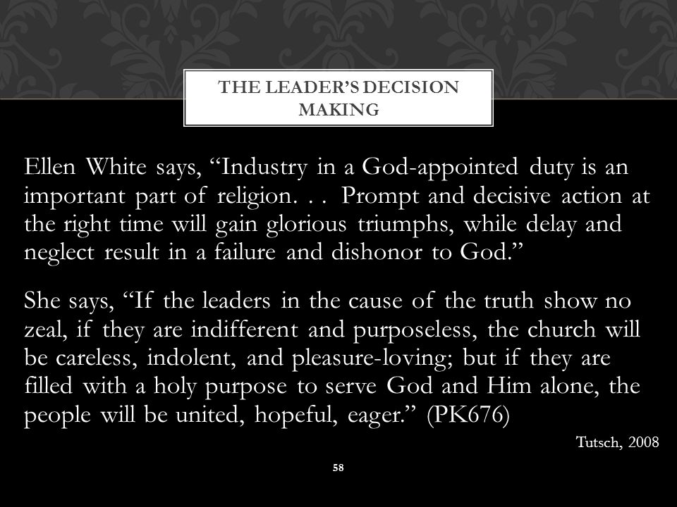 Ellen White says, Industry in a God-appointed duty is an important part of religion...