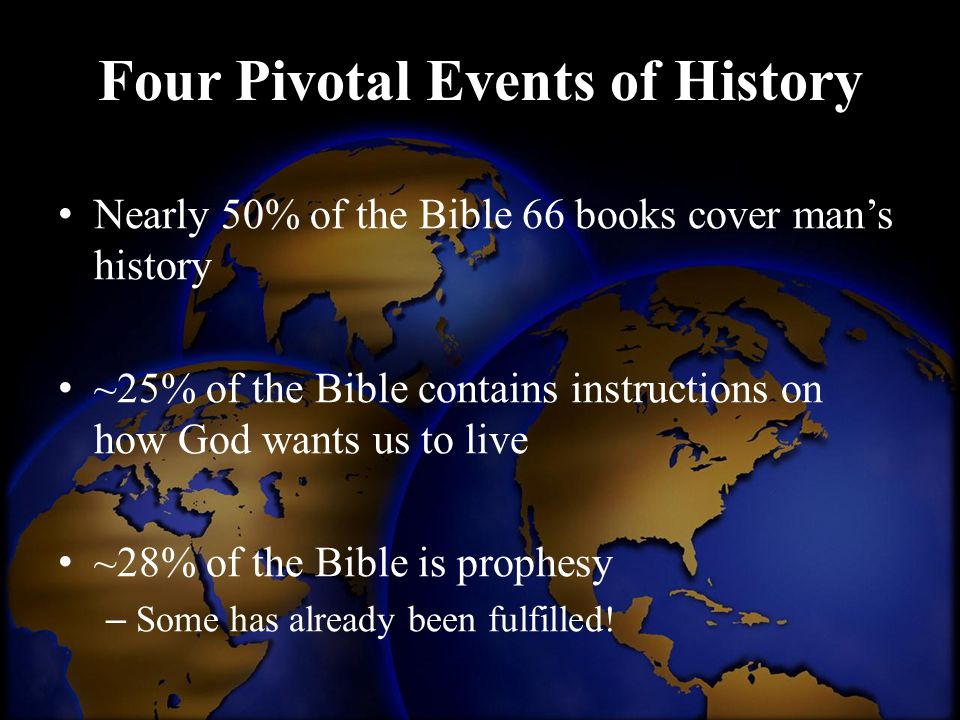 Nearly 50% of the Bible 66 books cover man's history ~25% of the Bible contains instructions on how God wants us to live ~28% of the Bible is prophesy