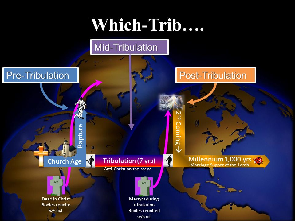 Tribulation (7 yrs) Dead in Christ Bodies reunite w/soul Martyrs during tribulation Bodies reunited w/soul 2 nd Coming  Millennium 1,000 yrs Marriage