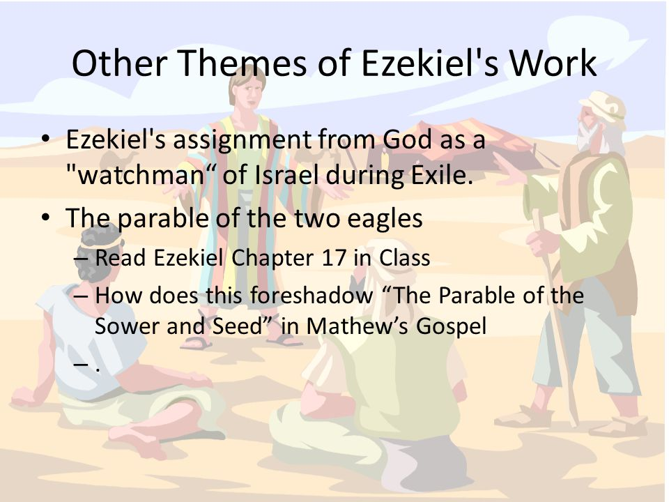 Other Themes of Ezekiel s Work Ezekiel s assignment from God as a watchman of Israel during Exile.