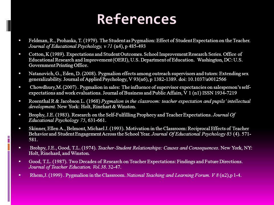 References  Feldman, R., Prohaska, T. (1979).