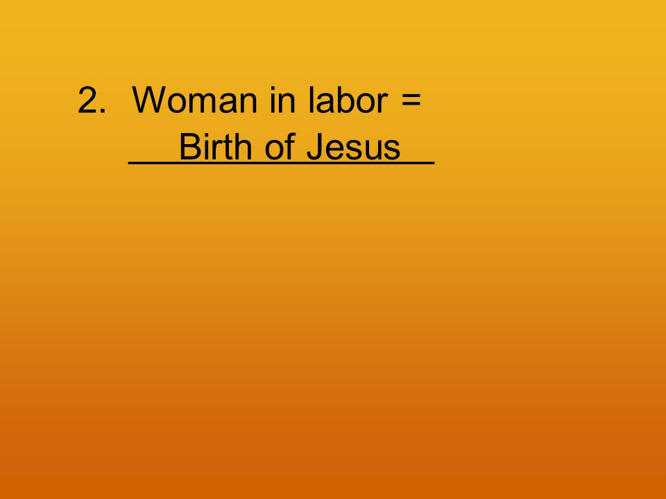2.Woman in labor = _______________ Birth of Jesus