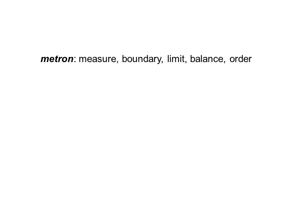 metron: measure, boundary, limit, balance, order