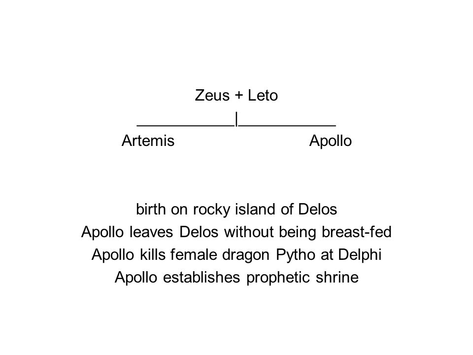 Zeus + Leto ___________|___________ Artemis Apollo birth on rocky island of Delos Apollo leaves Delos without being breast-fed Apollo kills female dragon Pytho at Delphi Apollo establishes prophetic shrine
