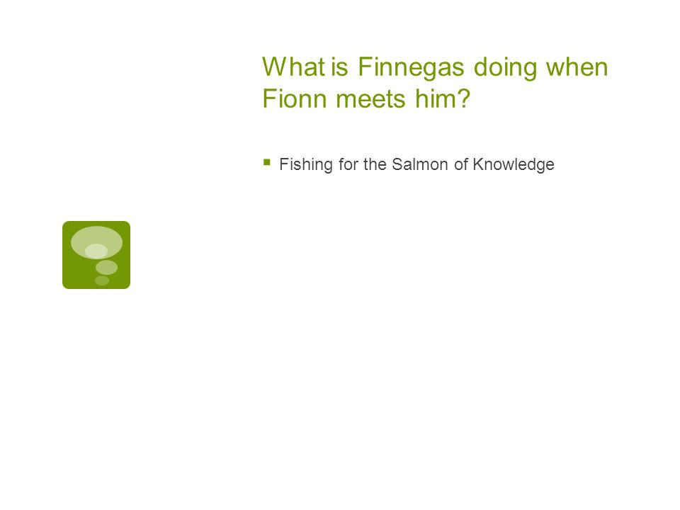 What is Finnegas doing when Fionn meets him?  Fishing for the Salmon of Knowledge
