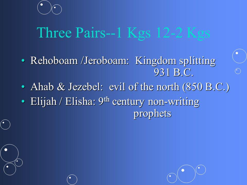 The Split--1 Kgs 12 Rehoboam's mistake: young versus oldRehoboam's mistake: young versus old –On advice receiving & learning to listen (12:6ff); Adoniram 12:18 Northern Kingdom = IsraelNorthern Kingdom = Israel –All bad kings Southern Kingdom = Judah—David's descendants: 2 winners: Hezekiah, JosiahSouthern Kingdom = Judah—David's descendants: 2 winners: Hezekiah, Josiah