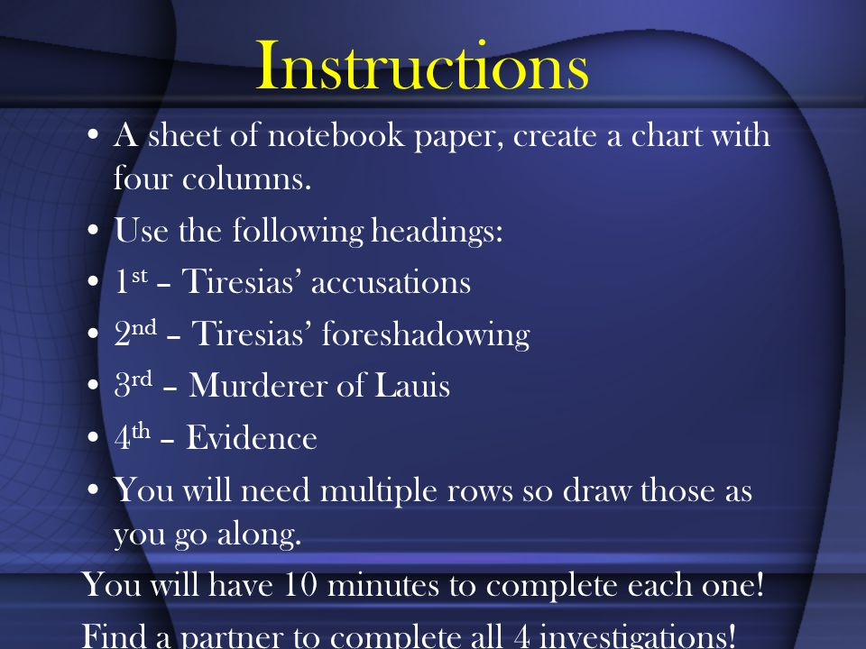 Instructions A sheet of notebook paper, create a chart with four columns.