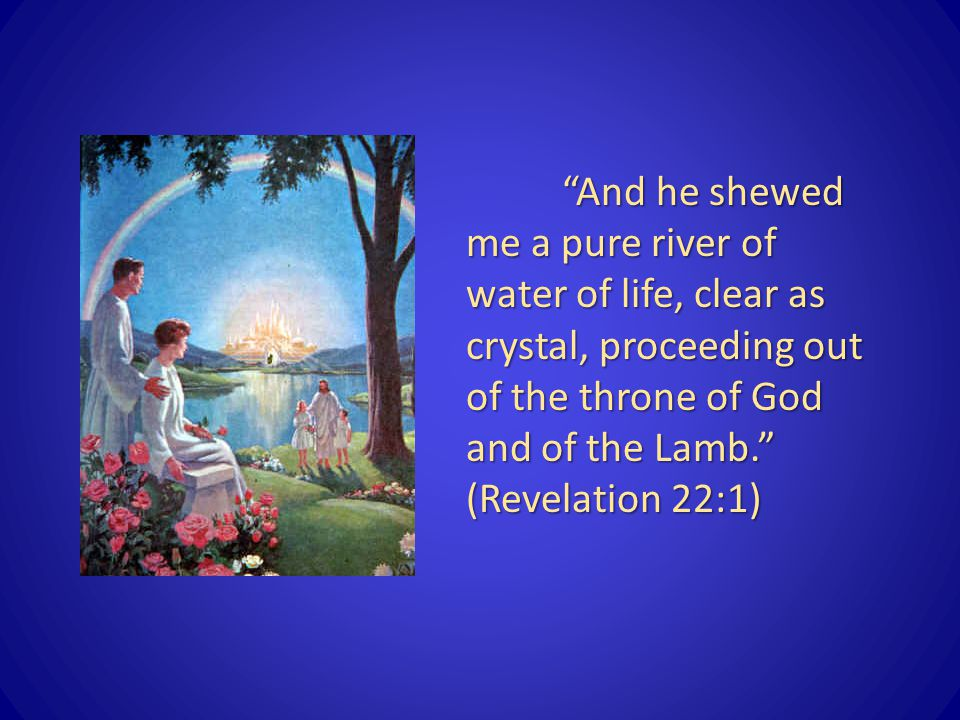 And he shewed me a pure river of water of life, clear as crystal, proceeding out of the throne of God and of the Lamb. (Revelation 22:1)