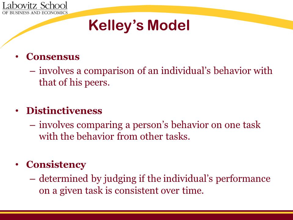 Kelley's Model Consensus – involves a comparison of an individual's behavior with that of his peers.