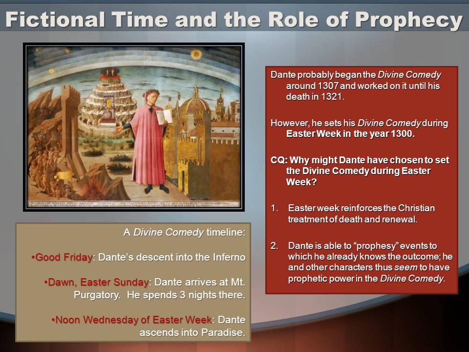 Fictional Time and the Role of Prophecy Dante probably began the Divine Comedy around 1307 and worked on it until his death in 1321.