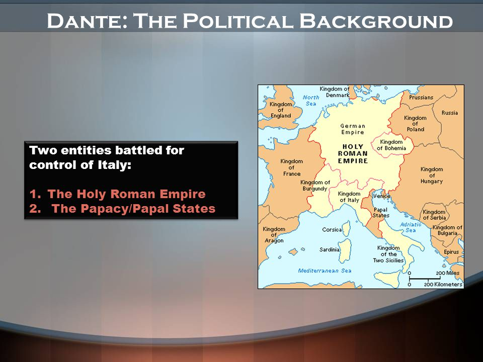 Dante: The Political Background Two entities battled for control of Italy: 1.The Holy Roman Empire 2.