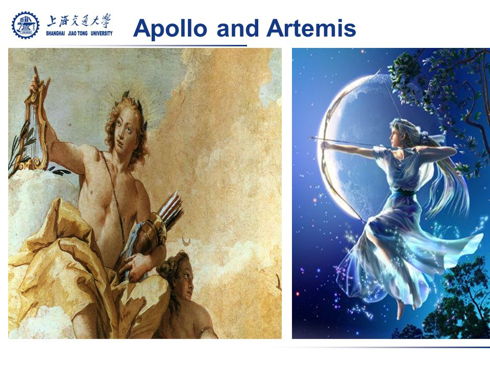 Olympians: Apollo and Artemis Twin sisters Zeus the father LetoLeto the mother sun and moon More complex
