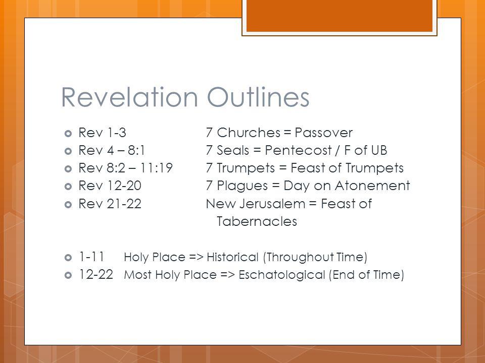 Revelation Outlines  Rev 1-37 Churches = Passover  Rev 4 – 8:17 Seals = Pentecost / F of UB  Rev 8:2 – 11:197 Trumpets = Feast of Trumpets  Rev 12