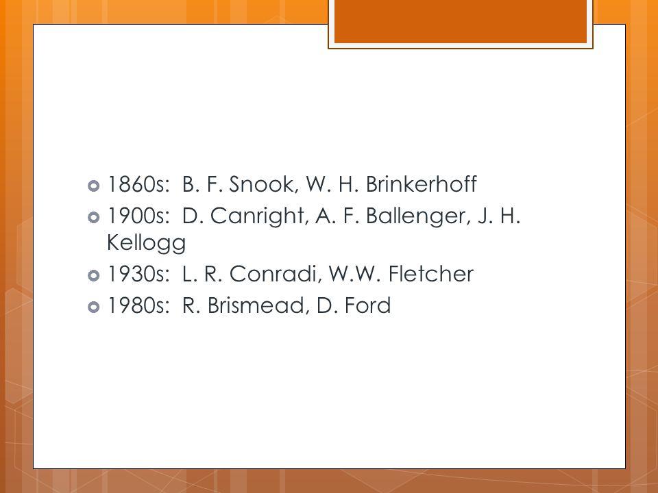  1860s: B. F. Snook, W. H. Brinkerhoff  1900s: D. Canright, A. F. Ballenger, J. H. Kellogg  1930s: L. R. Conradi, W.W. Fletcher  1980s: R. Brismea