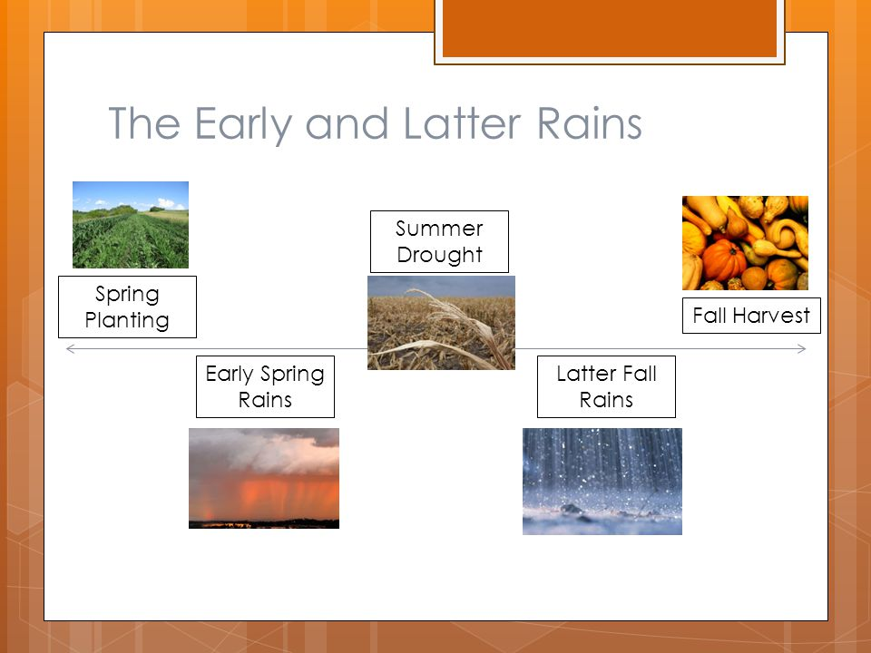 The Early and Latter Rains Spring Planting Fall Harvest Early Spring Rains Latter Fall Rains Summer Drought