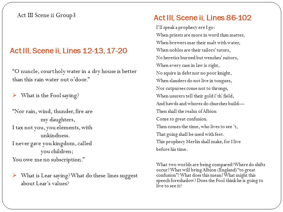 King Lear Act V Summation Questions – Class Discussion Should we allow the stars above us to govern our conditions, as stated by Kent (IV.iii.39, p.