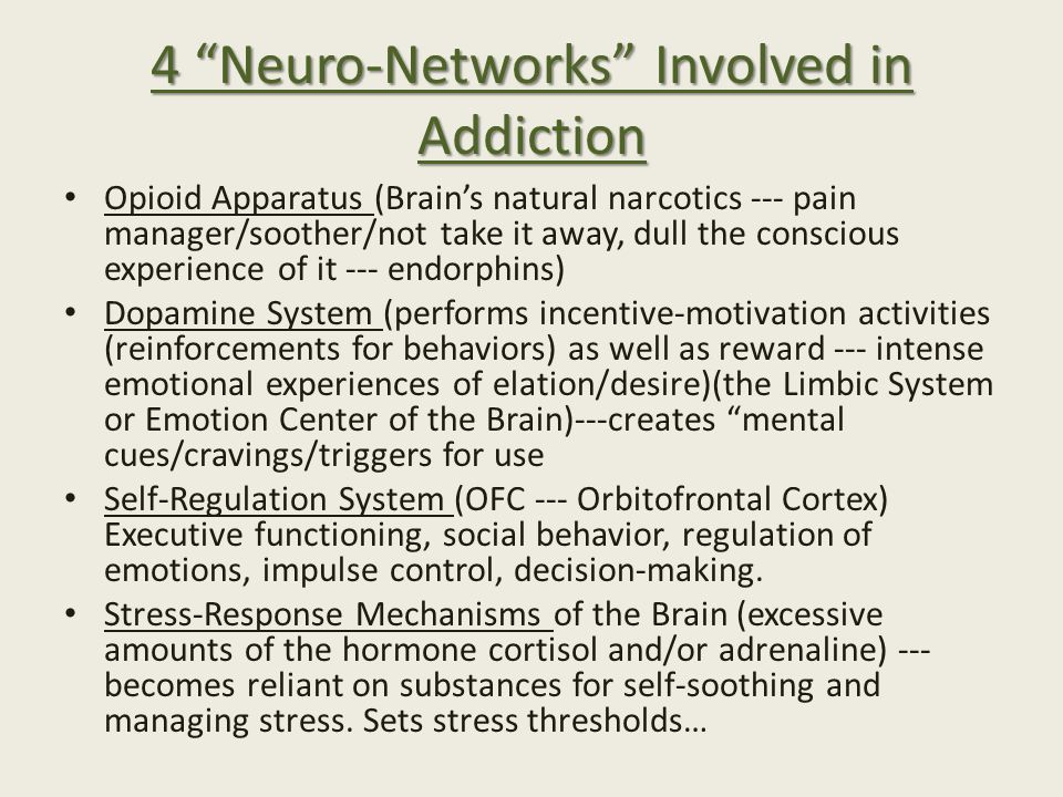 4 Neuro-Networks Involved in Addiction Opioid Apparatus (Brain's natural narcotics --- pain manager/soother/not take it away, dull the conscious experience of it --- endorphins) Dopamine System (performs incentive-motivation activities (reinforcements for behaviors) as well as reward --- intense emotional experiences of elation/desire)(the Limbic System or Emotion Center of the Brain)---creates mental cues/cravings/triggers for use Self-Regulation System (OFC --- Orbitofrontal Cortex) Executive functioning, social behavior, regulation of emotions, impulse control, decision-making.