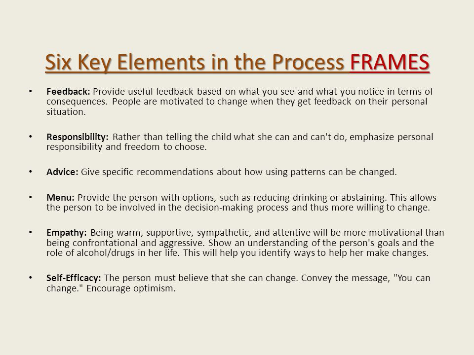 Six Key Elements in the Process FRAMES Feedback: Provide useful feedback based on what you see and what you notice in terms of consequences. People ar