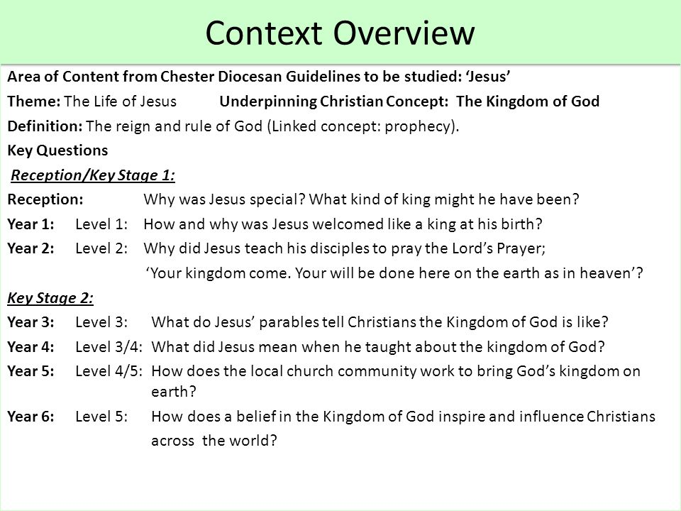 Key Stage 1 Lesson : Year 2 Theme: The Life of Jesus Concept underpinning work: Kingdom of God Key Question : Why did Jesus teach his disciples to pray the Lord's Prayer; 'Your kingdom come.