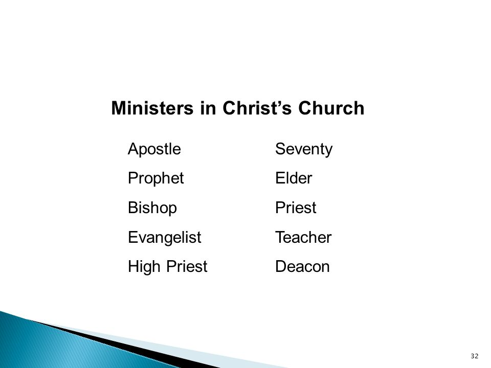 Ministers in Christ's Church Apostle Prophet Bishop Evangelist High Priest Seventy Elder Priest Teacher Deacon 32