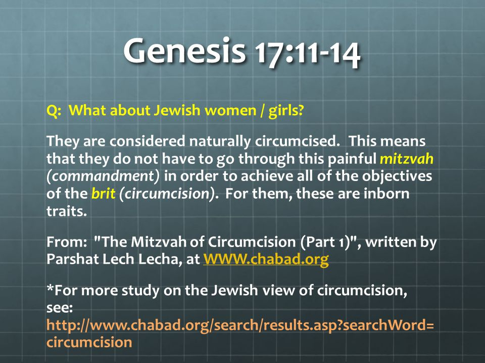 Genesis 17:11-14 Q: What about Jewish women / girls.