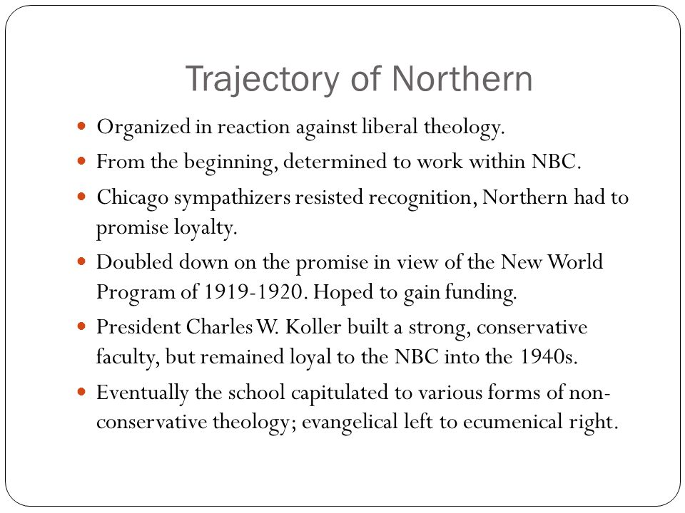 Trajectory of Northern Organized in reaction against liberal theology.