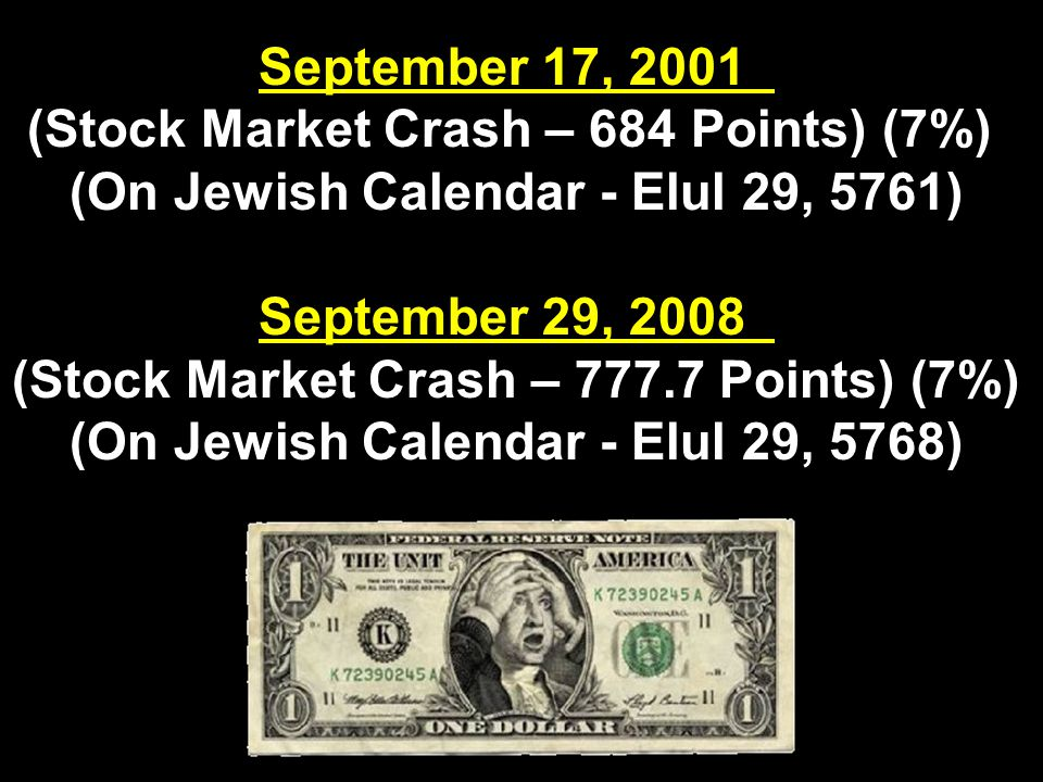 September 17, 2001 (Stock Market Crash – 684 Points) (7%) (On Jewish Calendar - Elul 29, 5761) September 29, 2008 (Stock Market Crash – 777.7 Points) (7%) (On Jewish Calendar - Elul 29, 5768)