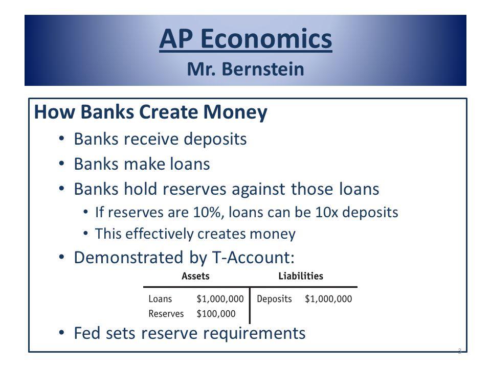 AP Economics Mr. Bernstein How Banks Create Money Banks receive deposits Banks make loans Banks hold reserves against those loans If reserves are 10%,