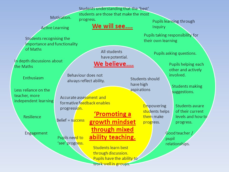 We will see.... We believe.... 'Promoting a growth mindset through mixed ability teaching. Enthusiasm Resilience Less reliance on the teacher, more in