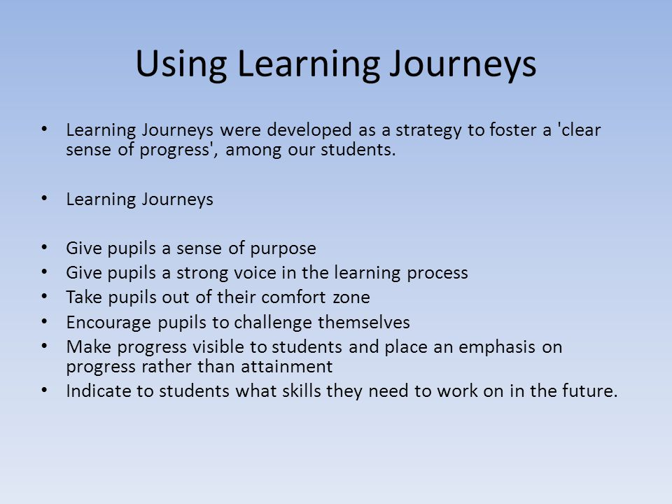 Using Learning Journeys Learning Journeys were developed as a strategy to foster a 'clear sense of progress', among our students. Learning Journeys Gi