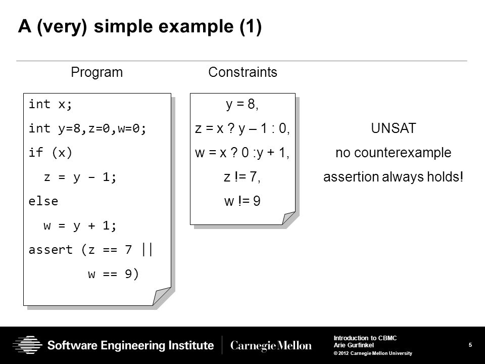6 Introduction to CBMC Arie Gurfinkel © 2012 Carnegie Mellon University A (very) simple example (2) int x; int y=8,z=0,w=0; if (x) z = y – 1; else w = y + 1; assert (z == 5    w == 9) int x; int y=8,z=0,w=0; if (x) z = y – 1; else w = y + 1; assert (z == 5    w == 9) y = 8, z = x .