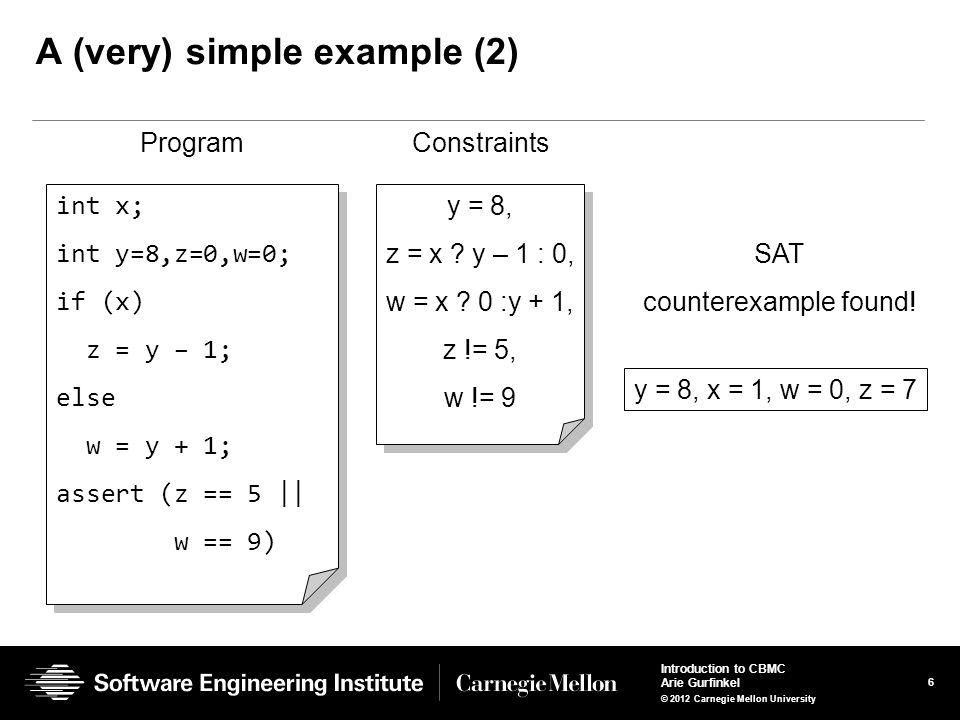 27 Introduction to CBMC Arie Gurfinkel © 2012 Carnegie Mellon University Adding Unbounded Arrays Arrays are updated whole array at a time A[1] = 5; A[2] = 10; A[k] = 20; A 1 =λ i : i == 1 .