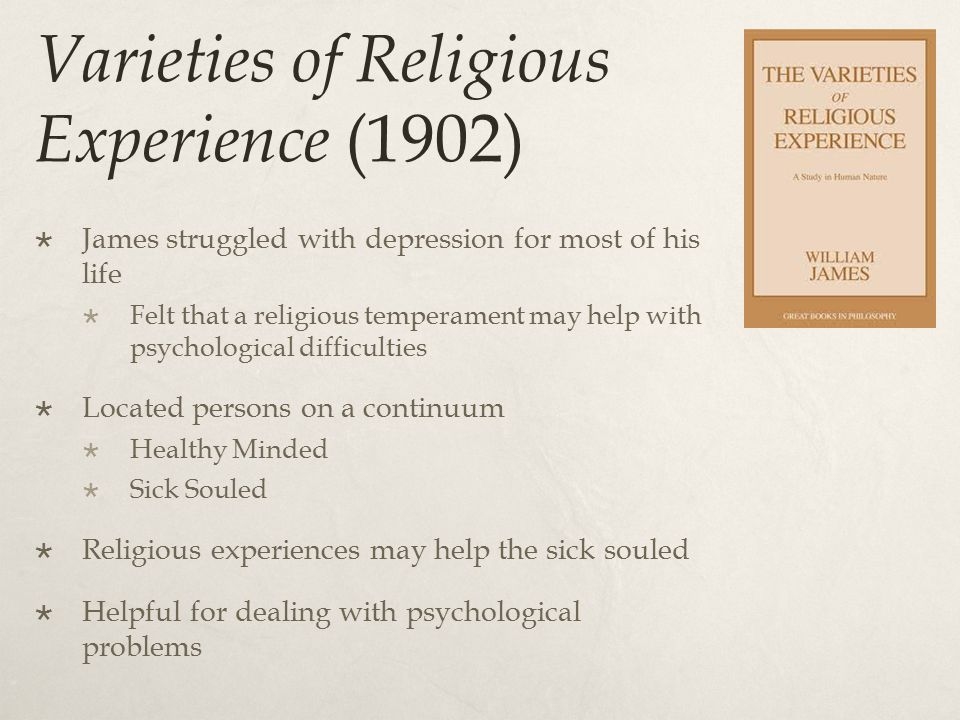 Will to Believe (1897)  Three different Aspects of Religion  Alive – live options that must be dealt with  Forced – cannot be skeptical (example of a marriage proposal)  Momentous – something important to be gained