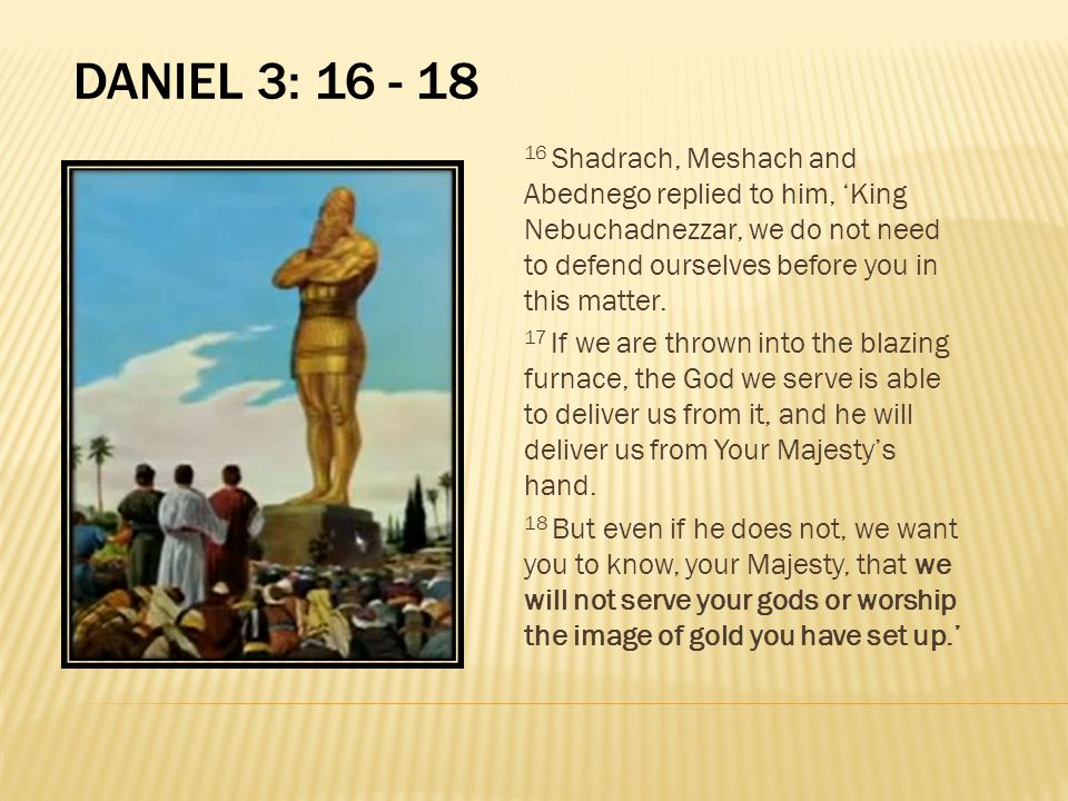 DANIEL 3: 16 - 18 16 Shadrach, Meshach and Abednego replied to him, 'King Nebuchadnezzar, we do not need to defend ourselves before you in this matter