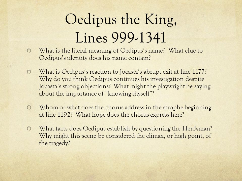 Oedipus the King, Lines 999-1341 What is the literal meaning of Oedipus's name.