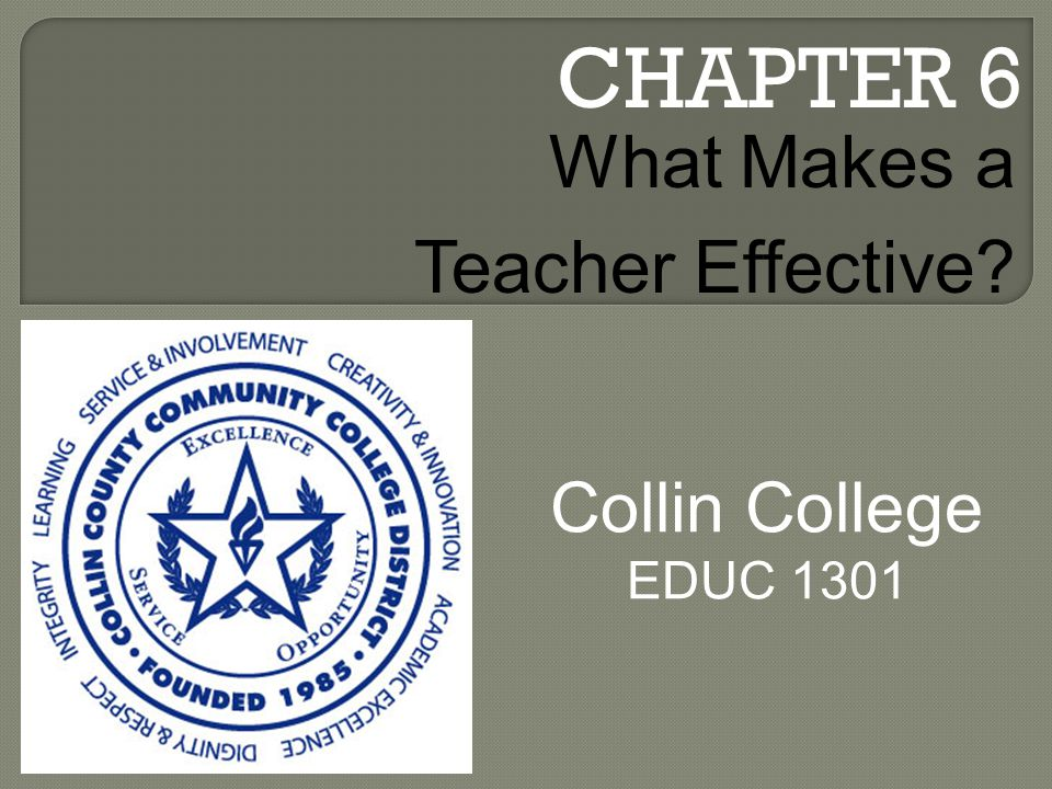 CHAPTER 6 Collin College EDUC 1301 What Makes a Teacher Effective
