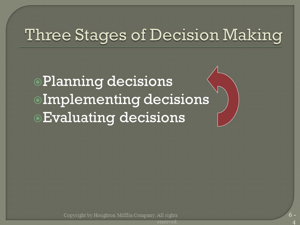  Planning decisions  Implementing decisions  Evaluating decisions Copyright by Houghton Mifflin Company.
