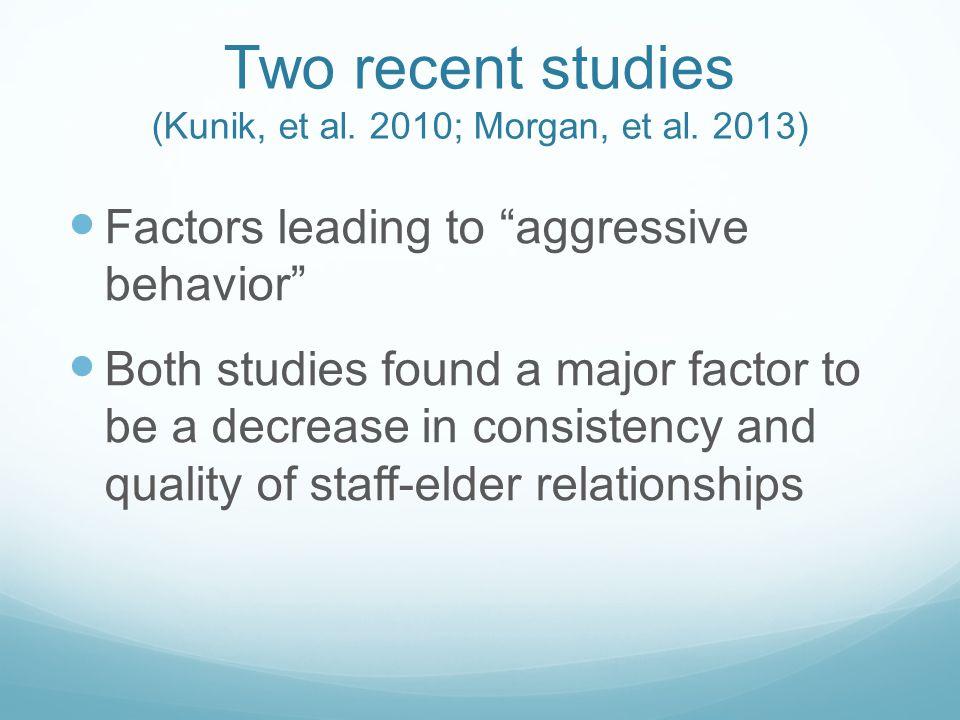Two recent studies (Kunik, et al. 2010; Morgan, et al.