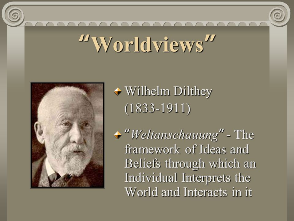 Worldviews Wilhelm Dilthey (1833-1911) Weltanschauung - The framework of Ideas and Beliefs through which an Individual Interprets the World and Interacts in it