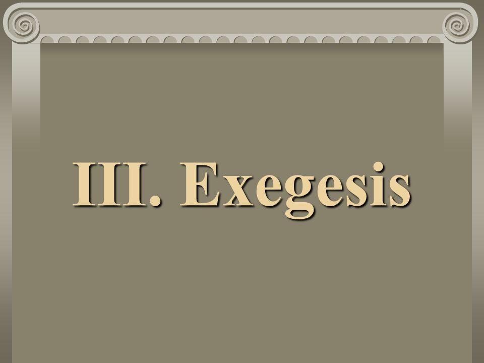 III. Exegesis